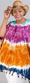 Jackpot KF1003-Purple/Brown - Womens Kaftan In Tie-Dye Print With Fringe Trim