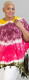 Jackpot KF1003-Purple/Fuchsia - Womens Kaftan In Tie-Dye Print With Fringe Trim