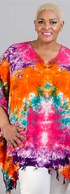 Jackpot KF1004-Fuchsia/Green - V-Neck Womens Kaftan In Tie-Dye Print With Fringe Trim
