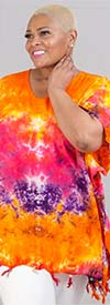 Jackpot KF1004-Orange/Purple - V-Neck Womens Kaftan In Tie-Dye Print With Fringe Trim