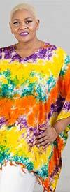 Jackpot KF1004-Yellow/Orange - V-Neck Womens Kaftan In Tie-Dye Print With Fringe Trim
