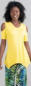 Kaktus 75116-Yellow - Cold Shoulder Sleeve Womens Knit Sharkbite Hem Top