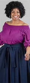 KaraChic 17068-Purple - Womens Smocked Top With Gathered Neckline For Off-Shoulder Option Style