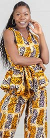 KaraChic 208 - Womens Wrap Style Top In African Inspired Print