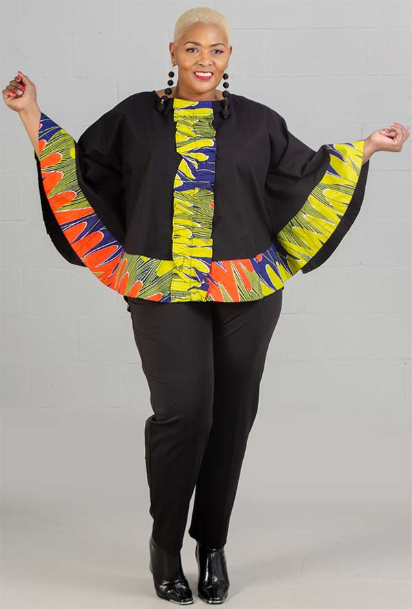 KaraChic 7558-BlueMulti - Womens Poncho Style Top With African Inspired Print Border