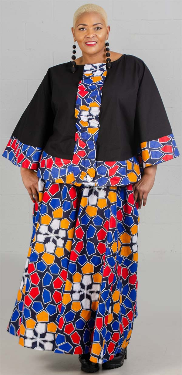 KaraChic 7558-RedBlueYellow - Womens Poncho Style Top With African Inspired Print Border