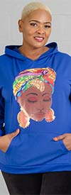 KaraChic CHH20010 - Womens Knit Hooded Top With Printed Headwrap Face Graphic
