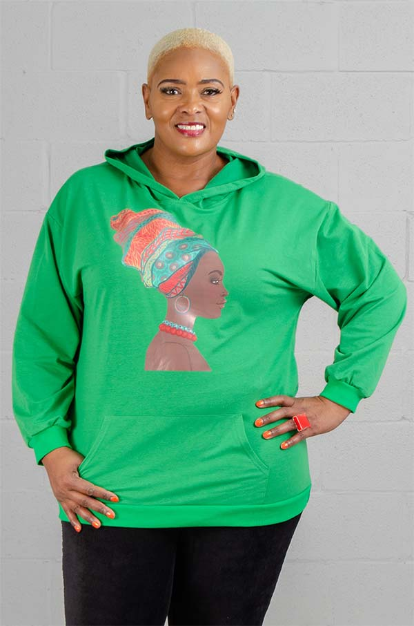 KaraChic CHH20011 - Womens Knit Hooded Top With Headwrap Face Graphic Print