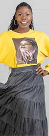 KaraChic CHH20012-Mustard - Womens Knit Top With Printed Face Graphic