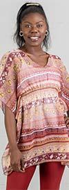 La Moda 4004 Womens Short Kaftan Top With V-Neck Design