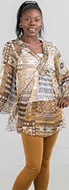 La Moda 4093BD Womens Short Kaftan Top With Embellished V-Neck