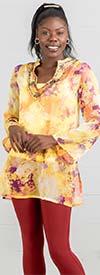 La Moda 4415BD Womens Short Kaftan Top With Bead Embellished V-Neck Design