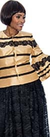 Raquel 1100 - Womens Snap Closure Top With Lace Applique Stripes And Bell Sleeves