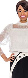 Raquel 1119-Off White - Pearl Embellished Ladies Tiered Sheer Design Top