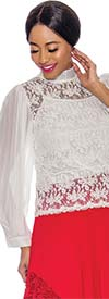 Raquel 1135 Ladies Lace Design Top With Long Sheer Pleated Sleeves