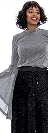 Raquel 1163-Silver - Metallic Shimmer Fabric Womens Top With Extended Bell Sleeves