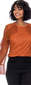 Raquel 1175-Cinnamon - Sparkle Stripe Design Womens Top With Sheer Ruffle Sleeves