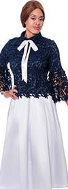 Rose Collection RC765-Navy/White - Womens Lace Design Top With Bow Neckline