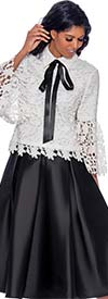 Rose Collection RC765-White/Black - Womens Lace Design Top With Bow Neckline