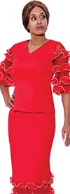 Rose Collection RC780-Red / White - Womens Vee Neck Ruffle Tier Sleeve Top