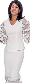 Rose Collection RC780-WhiteBlack - Womens Vee Neck Ruffle Tier Sleeve Top