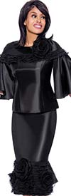 Rose Collection RC880-Black - Womens Ruffle Trim Bell Sleeve Top