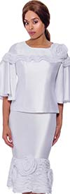 Rose Collection RC880-White - Womens Ruffle Trim Bell Sleeve Top