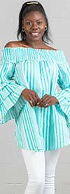 True Destiny 6739DR - Womens Striped Tunic Top With Tier Sleeves And Smocked Detail