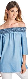 Vantarsi NC8034X-Light Wash -  Off-The-Shoulder Style Womens Top With Smocked Detail
