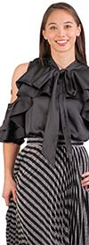 Why Dress - T170243-Black - Cold-Shoulder Sleeve Womens Top In Ruffle Design With Bow