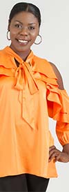 Why Dress - T170243-Orange - Cold-Shoulder Sleeve Womens Top In Ruffle Design With Bow