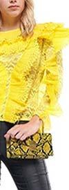 Why Dress - T180859-Yellow - Long Sleeve Womens Top In Laser Cut Ruffle Design