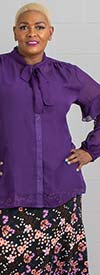Antthony 15232-Purple - Tie Collar Top With Camisole And Lace Inset Sleeves