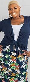 Fantazia 7007-Navy - Ladies Knit Cardigan Jacket Top
