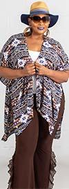 Forgotten Grace 8459X-PurpleBrown - Ladies Short Sleeve Kimono Style Top In Print Design