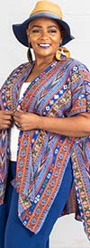 Forgotten Grace 8459X-RoyalAztec - Ladies Short Sleeve Kimono Style Top In Print Design