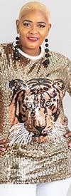 KaraChic CHH19044-Gold - Sequin Tiger Print Top