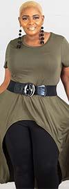 KaraChic CHH19064-Green - Womens Knit High-Low Style Knit Top