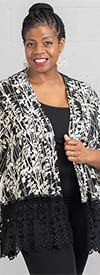 Moonlight 2158 - Womens Floral Print Cardigan Style Top With Lace Trim