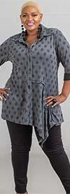 Moonlight 7940 - Long Sleeve Polka Dot Print Womens Top With Asymmetrical Hem Design