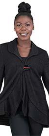 Moonlight 8567 - Womens Ruffle Hem One Button Jacket Top In Textured Knit Fabric