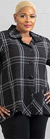 Moonlight 8705 - Womens Jacket Top In Plaid Checker Pattern With Front Buttons