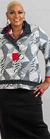 Moonlight 9004 - Long Sleeve Womens Jacket Top With Notch Lapels In Abstract Print