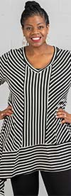 Moonlight 9162 - Asymmetrical Style Womens Tunic Top With Multi-Stripe Design