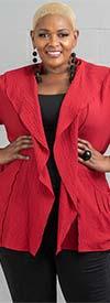 Moonlight J8012 - Womens Crinkle Jacket Top With Over Shoulder Collar