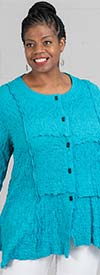 Moonlight J8979 - Womens Round Neckline Crinkle Fabric Button Front Tunic Top