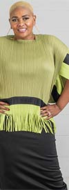 N By Nancy X7116-Green - Womens Top With Wide Sleeves And Fringe Detail Trim