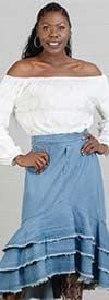 NF CHH19008 White Elastic Stripe Blouson Top