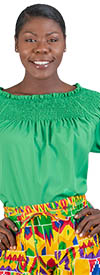 NF CHH19013 Green Tiered Short Sleeve Smock Off Shoulder Top