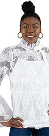 Rose Collection RC060-White - Womens Top In Lace Embroidered Design With Petal Flounce Cuff Sleeves